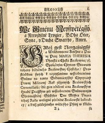 Artykulové všeobecného sněmovního snešení, jenž ... šestýho dne měsíce února 1741. přednešeny a sedmýho dne měsíce září téhož roku ... od všech čtyr stavů tohoto království českého zavřeny a vyhlášeny byli