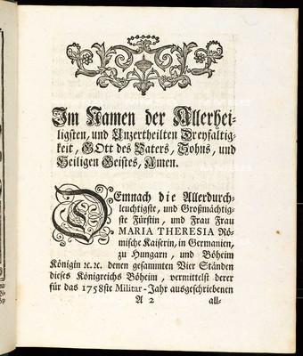 Artikulen des allgemeinen Land-Tag-Schlusses, so ... den 22. Monats-Tag Novembris des 1757. Jahrs proponiret, und den 14. gegenwärtigen Monats-Tag Septembris ... von allen vier Ständen dieses Königreichs Böheim geschlossen und publiciret worden