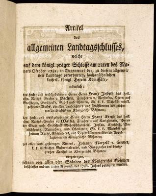 Artikel des allgemeinen Landtagsschlusses 1781-1782 - Článkové všeobecného sněmovního snešení 1781-1782