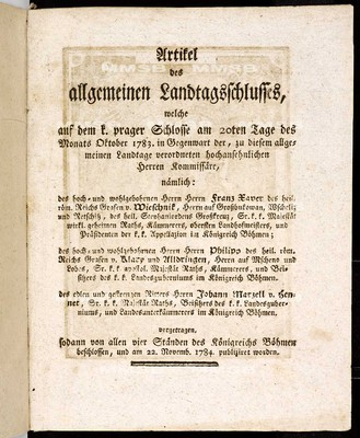 Artikel des allgemeinen Landtagsschlusses 1783-1784 - Článkové všeobecného sněmovního snešení 1783-1784