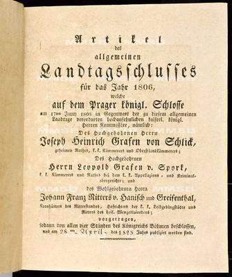 Artikel des allgemeinen Landtagsschlusses für das Jahr 1806 - Článkové všeobecného sněmovního snešení na rok 1806