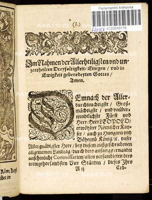 Artickl dess allgemeinen Landtags, so ... auff den eylfften Monathstag Decemb. dess sechtzehenhundert zwey und sechtzigsten Jahres aussgeschrieben, gehalten und den 17. Martii jetztlauffenden 1663. Jahres ... von allen vier Ständen dieses Königreichs Böheimb geschlossen worden