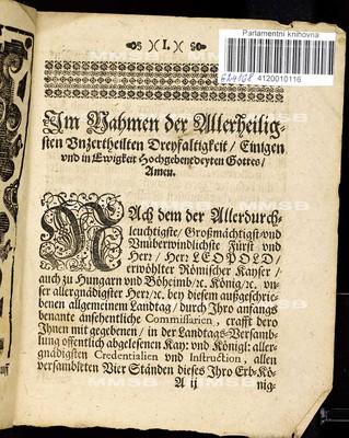 Artickeln desz allgemeinen Landtags, so ... den 20. Monathstag Decemb. an. 1677 gehalten und den 6. Monathstag Junii 1678. Jahrs ... von allen Ständen dieses Königreichs Böheimb geschlossen worden