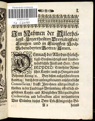 Artickeln dess allgemeinen Landtag Schlusses, so ... den 9. Monaths-Tag Decembris im 1694. Jahre ... gehalten, und den 27. Junii im 1695. Jahr ... geschlossen von allen vier Ständen dieses Königreichs Böheimb bewilliget worden