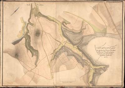 XIV. Situationsplan der zwischen den Dörfern Boschkow Letkow und Hradek gelegenen Gründe und sich hierbey befindlichen Zuackerungen.