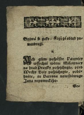 Píseň - Jan Nepomucký