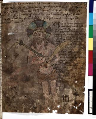 Koloreret stående billede af den hudflettede og                             forhånede Kristus