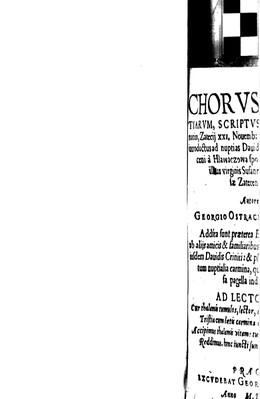 Chorus gratiarum, scriptus et personatim