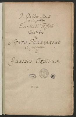 Tractatus de Statu Pomeraniae et praecipue de iuribus ordinum
