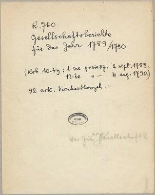 Gesellschaftsberichte [in Basel] des Zehnten Jahrs [für das Jahr 1789/1790]