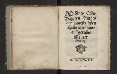 Eines Erbaren Rathes der Kayserlichen Stadt Bresslaw auffgerichte Meurer-ordnung.