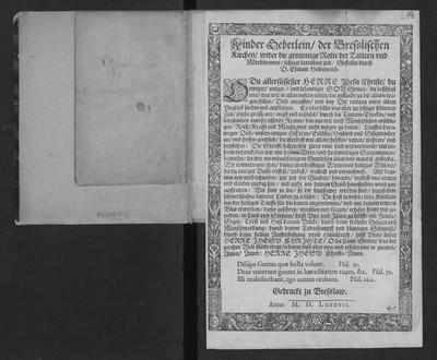 Kinder Gebetlein der Bresslischen Kirchen wider die grimmige Rotte der Tattern und Mordbrenner […]. Gestellet durch D. Esaiam Heidenreich.