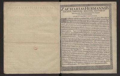 Zacharias Hermannus Sacros. Theolog. Doctor, Pastor et Inspector Ecclesiarum et Scholarum Vratislaviensium Auditoribus Salutem.