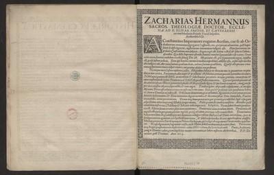 Zacharias Hermannus Sacros. Theologiæ Doctor [...]