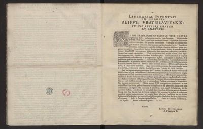Literariae Ivventuti In Scholis Reipub. Vratislaviensis […].