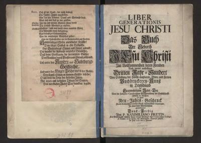Liber generationis Jesu Christi. Das Buch [...] Zur Vollkommenheit [...] Dritten Jahr-Hundert [...] Buchdruckerei-Kunst...