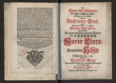 Das [...] Andencken Das Acht und Dreyszig Jahr zu Breszlau auf dem Dohm [...] Buchdrucker-Kunst