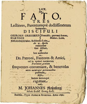 De Fato Tres Lectiores, Parentumqve doctissimorum Imitatores, Discipuli ...