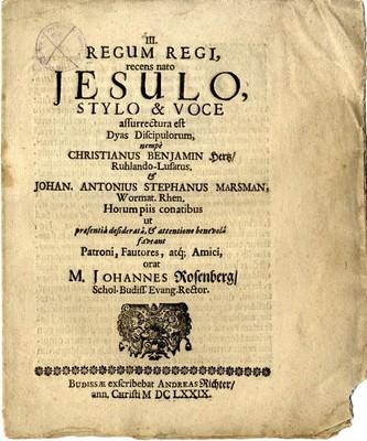 Regum regi, recens nato Jesulo, Stylo & Voce ...