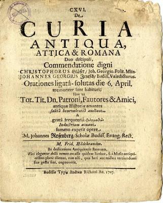 De Curia Antiqua, Attica & Romana Duo discipuli, Commendatione digni...