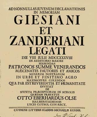 Ad Nonnulas Iuvenum Declamationes in Memoriam Giesiani et Zanderiani Legati
