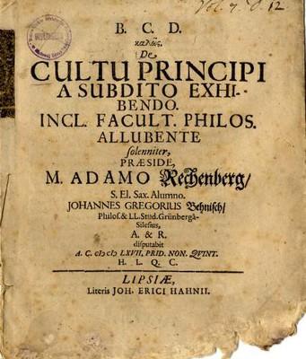 De Cultu Principi a Subdito Exhibendo. Incl. Facult. Philos. Allubende ...