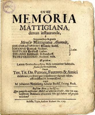 Memoria Mättigiana, denuo instauranda, a Sequentibus & gratis ...