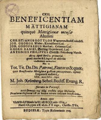 Beneficentiam Mättigianam quinque Mättigianae mensae Alumni ....