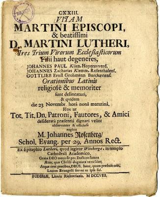 Vitam Martini Episcopi & Beatissimi D. Martini Lutheri ....
