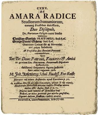 De Amara Radice Studiorum humaniorum ....
