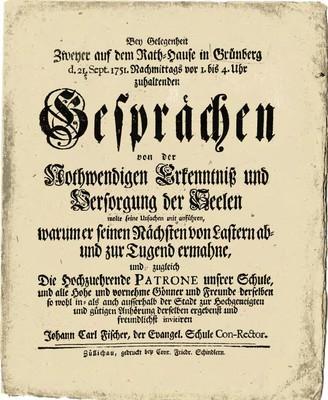 Bey Gelegenheit zweyer auf dem Kath=hause in Grünberg d. 21. Sept. 1751. Nachmittags vor 1. bis 4. Uhr zuhaltenden Gesprächen...