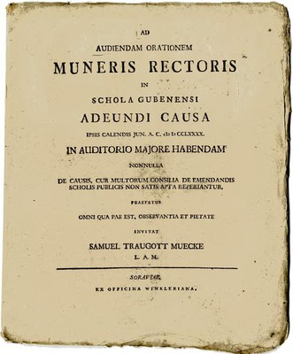 Ad Audiendam Orationem Muneris Rectoris in Schola Gubenensi Adeundi Causa ...