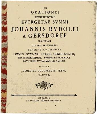 Ad Orationes Munificentiae Evergetae Summi Johannis Rudolfi a Gersdorff...