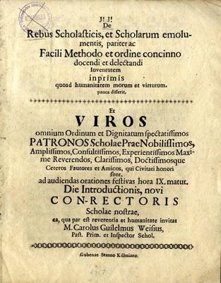 De Rebus Scholasticis, et Scholarum emolumentis, pariter ac Facili Methodo et ordine concinno docendi et delectandi ...