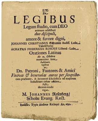 De Legibus Legum studio, cum DEO animum addicturi duo discipuli, amore & favore digni....