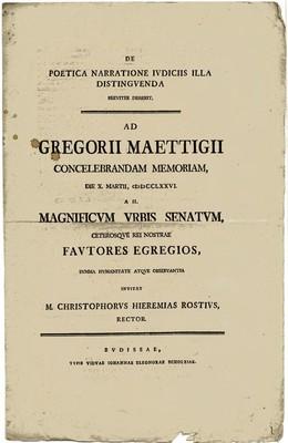 DE POETICA NARRATIONE IVDICIIS ILLA DISTINGVENDA BREVITER DISSERIT, AD GREGORII MAETTIGII CONCELEBRANDAM MEMORIAM....