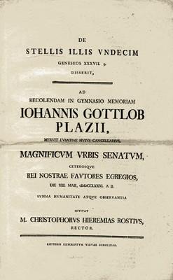 DE STELLIS ILLIS VNDECIM GENESEOS XXXVII. g. DISSERIT, AD RECOLENDAM IN GYMNASIO MEMORIAM IOHANNIS GOTTLOB PLAZII...