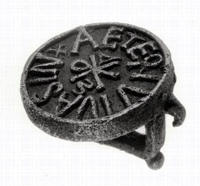 Placa circular em bronze, com punho, apresentando na face oposta a inscrição Vivas in aeternu(m), circundando um monograma de tipo constantiniano. Caracteres em relevo e retrógados.
