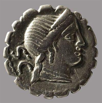 Anverso: Cabeça de Vénus com diadema, à direita, com brincos e colar. Atrás S.C. Rebordo serrilhado (denarius serratus). Reverso: Vitória alada numa triga, segurando as rédeas com ambas as mãos. Em cima marca de controlo: CXXXXII. No exergo: C.NAE.BA[LB]