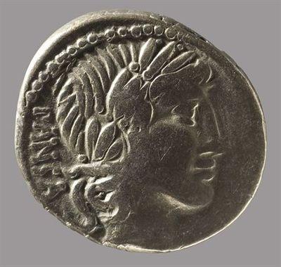 Anverso: Cabeça de Apolo, à direita. Atrás: PANSA. À volta rebordo ponteado. Reverso: Minerva numa quadriga, à direita, segurando lança e rédeas com a mão esquerda. No Exergo: C.VIBIVS.C.F