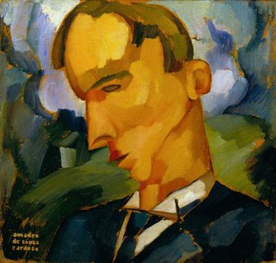 Busto de homem vestindo casaco e gravata azul, virado de perfil para a esquerda e baixando a cabeça, signo de melancolia, com a testa proeminente, o rosto e cabelo enformados em pinceladas justapostas de ocre. No fundo, esboço de nuvens e vegetação verde. É possível que seja um retrato.