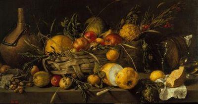 Numa composição regida pela horizontalidade, dispõem-se em cima de uma mesa, dentro de uma cesta e fora dela, uma série de frutos (limões, romãs, medronhos...) e aprestos de cozinha (uma bilha de cobre, um barril, uma garrafa, um copo de vidro...). À semelhança da outra pintura de Pereda y Salgado existente no Museu Nacional de Arte Antiga (inventário nº 470), o quadro caracteriza-se, em termos de linhas de força, pela série de diagonais traçadas a partir da direita, o que confere a noção de pr...