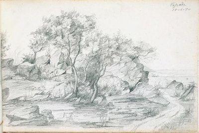 Terreno pedregoso com árvores; à direita, define-se um caminho térreo. No canto superior direito, está escrito Tapada (desenho n.º16 do álbum).