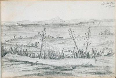 Paisagem com vegetação em primeiro plano e moinhos ao longe. No canto superior direito, está escrito P. no Castello d'Almada (desenho n.º 17 do álbum).