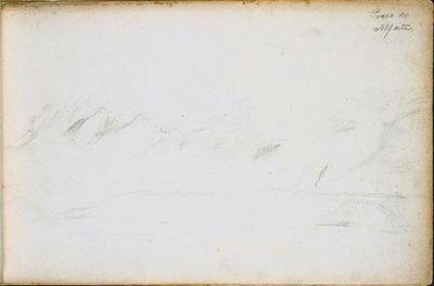 Apontamentos breves de paisagem arenosa. No canto superior direito, está escrito Praia do Alfeite (desenho n.º18 do álbum).