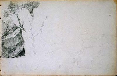 Rocha e árvore inacabada, no lado esquerdo; pela restante folha, apontamentos breves sugerindo o esboço de um rochedo (desenho n.º 19 do álbum).