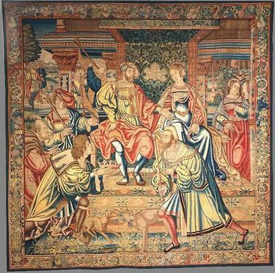 O tema central da composição é a coroação de Édipo como rei de Tebas e o casamento com Jocasta. No centro, o casal régio ocupa o trono sob um alto dossel de tecido brocado e debruado por um galão largo e ornado de pedraria. Jocasta é representada como uma mulher ainda jovem, ostentando a coroa e o ceptro reais. Édipo, a quem uma grossa cadeia de ouro cai sobre o peito, senta-se à direita de Jocasta. No cinto que lhe cinge a veste, mostra a inscrição EDIPVS. Em primeiro plano e de cada lado da...