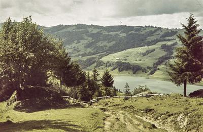 [Vista de un paisaje con camino en primer plano y río con montañas al fondo]