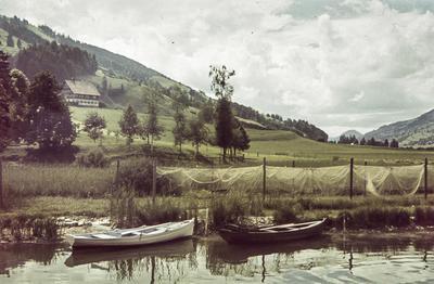 [Primer plano de barcas amarradas a en la orilla de un lago con montañas al fondo]