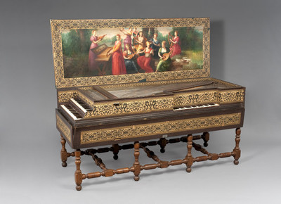 Klavecimbel met dubbel klavier in combinatie met een virginaal